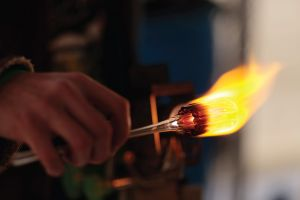 Glass blowing at House of Glass in Des Moines, Iowa